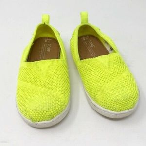 Toms 8 toddler neon yellow stretch boy girl T8